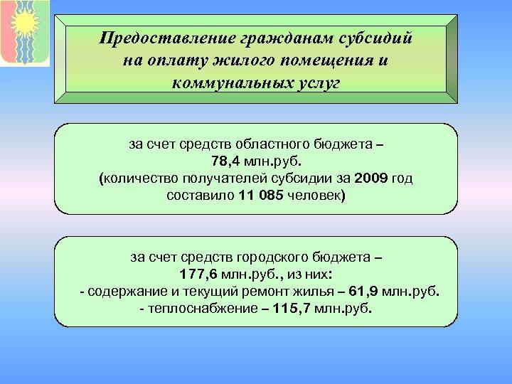 Предоставление гражданам субсидий на оплату жилого помещения и коммунальных услуг за счет средств областного