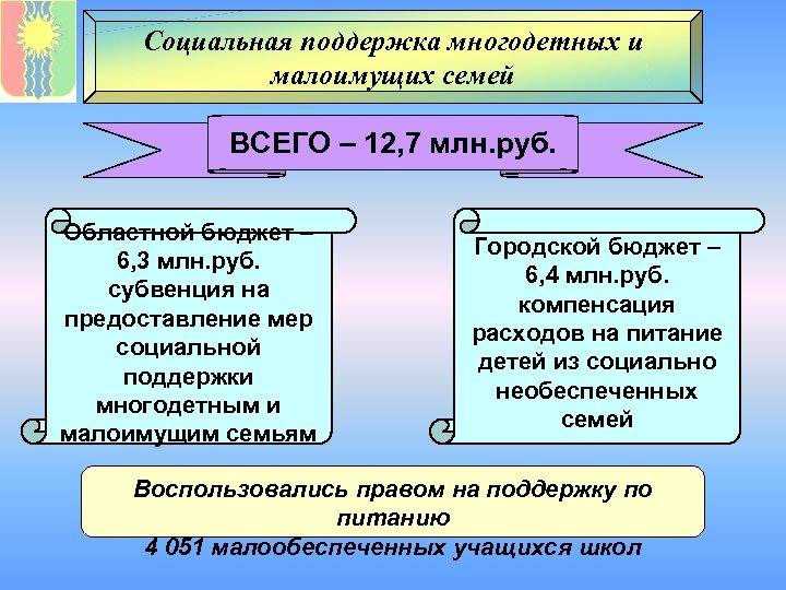 Социальная поддержка многодетных и малоимущих семей ВСЕГО – 12, 7 млн. руб. Областной бюджет