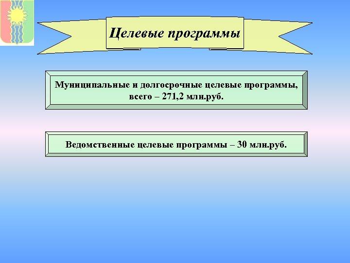 Целевые программы Муниципальные и долгосрочные целевые программы, всего – 271, 2 млн. руб. Ведомственные