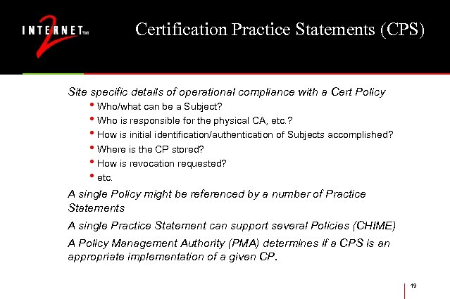Certification Practice Statements (CPS) Site specific details of operational compliance with a Cert Policy
