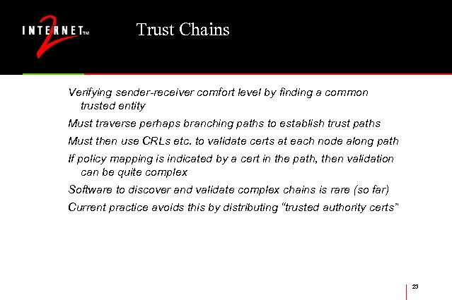 Trust Chains Verifying sender-receiver comfort level by finding a common trusted entity Must traverse