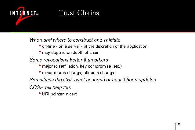 Trust Chains When and where to construct and validate • off-line - on a