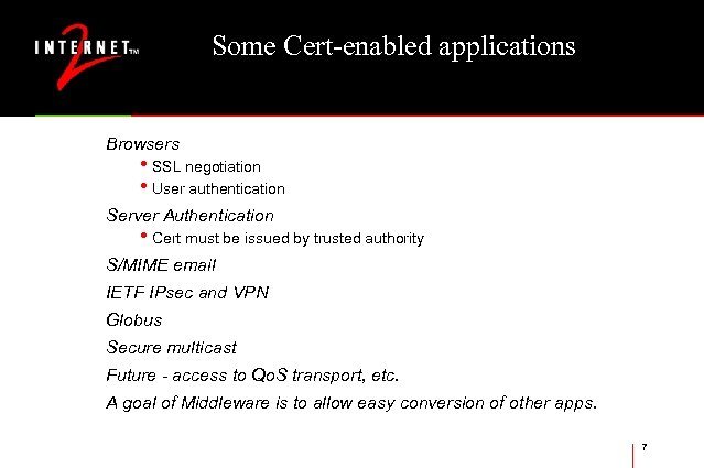 Some Cert-enabled applications Browsers • SSL negotiation • User authentication Server Authentication • Cert