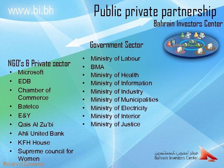 Public private partnership Bahrain Investors Center Government Sector NGO's & Private sector • Microsoft