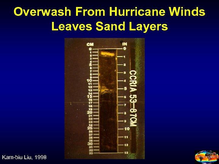 Overwash From Hurricane Winds Leaves Sand Layers Kam-biu Liu, 1998