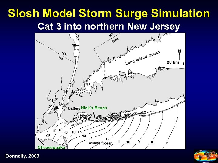 Slosh Model Storm Surge Simulation Cat 3 into northern New Jersey 10 N 20