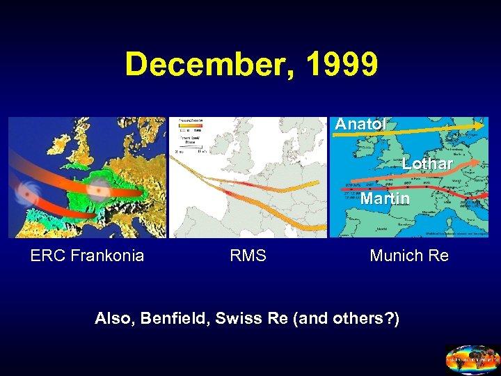 December, 1999 Anatol Lothar Martin ERC Frankonia RMS Munich Re Also, Benfield, Swiss Re