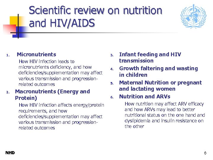 Scientific review on nutrition and HIV/AIDS 1. Micronutrients How HIV infection leads to micronutrients