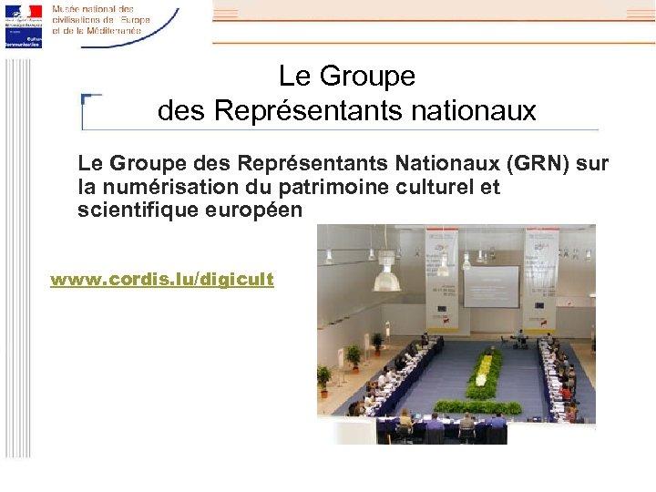 Le Groupe des Représentants nationaux Le Groupe des Représentants Nationaux (GRN) sur la numérisation