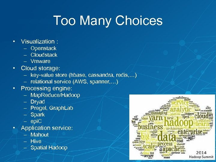 Too Many Choices • Visualization : – Openstack – Cloudstack – Vmware • Cloud