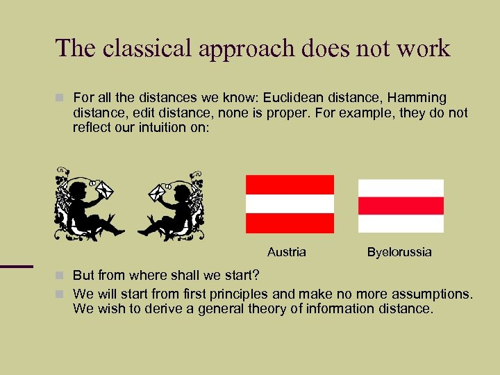 The classical approach does not work For all the distances we know: Euclidean distance,