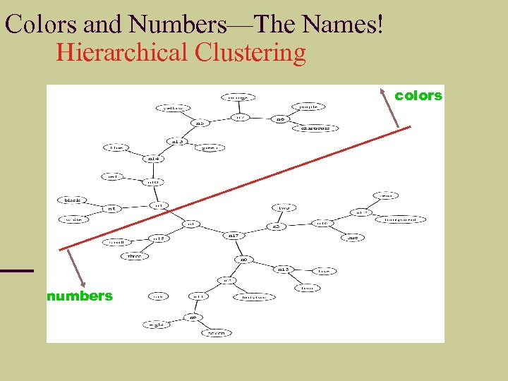 Colors and Numbers—The Names! Hierarchical Clustering colors numbers