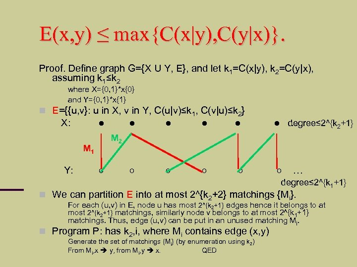 E(x, y) ≤ max{C(x|y), C(y|x)}. Proof. Define graph G={X U Y, E}, and let
