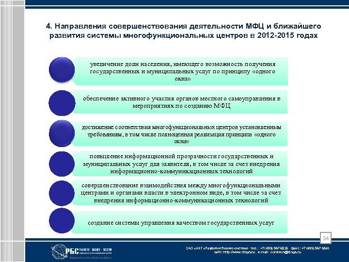 4. Направления совершенствования деятельности МФЦ и ближайшего развития системы многофункциональных центров в 2012 -2015