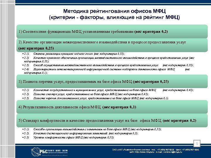Методика рейтингования офисов МФЦ (критерии - факторы, влияющие на рейтинг МФЦ) 1) Соответствие функционала