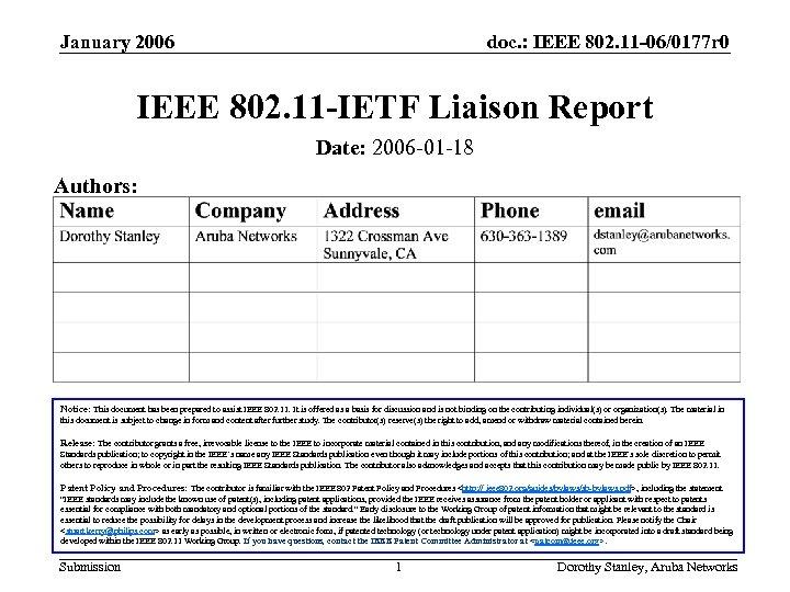 January 2006 doc. : IEEE 802. 11 -06/0177 r 0 IEEE 802. 11 -IETF
