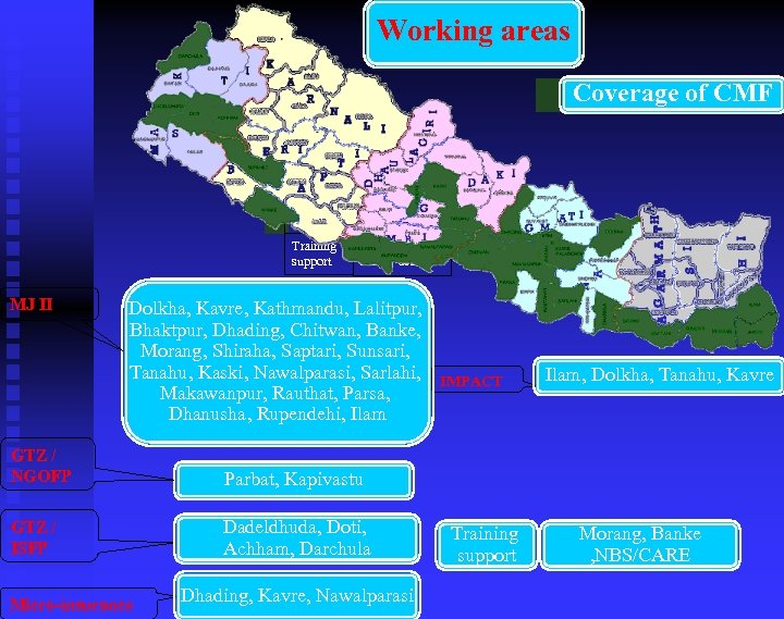 Working areas Coverage of CMF MJ Coverage of CMF Training support II Morang, Banke