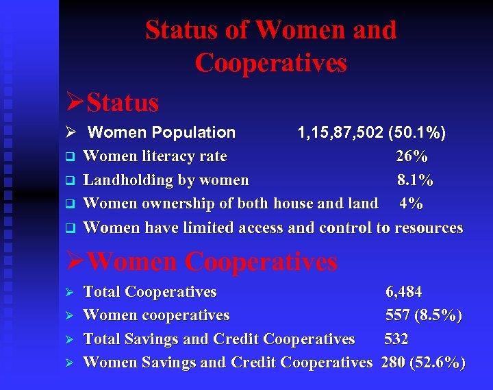 Status of Women and Cooperatives ØStatus Ø Women Population 1, 15, 87, 502 (50.