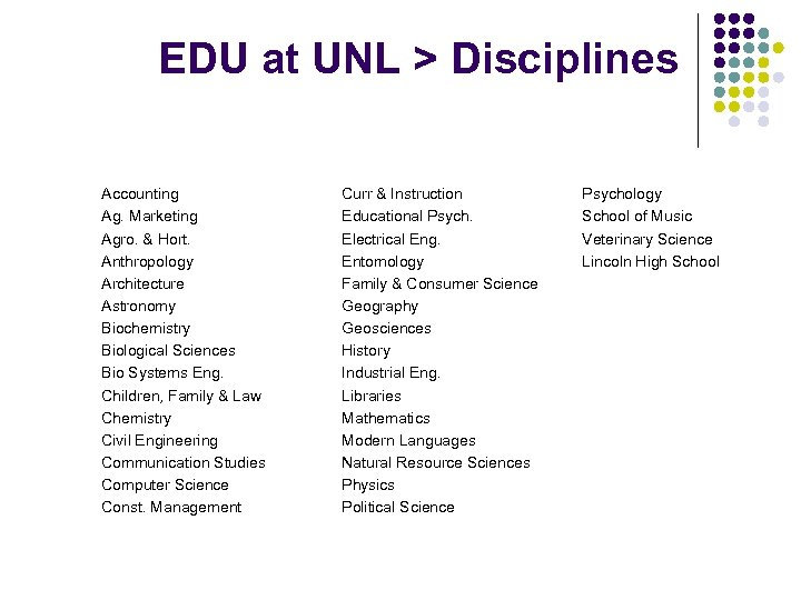 EDU at UNL > Disciplines Accounting Ag. Marketing Agro. & Hort. Anthropology Architecture Astronomy