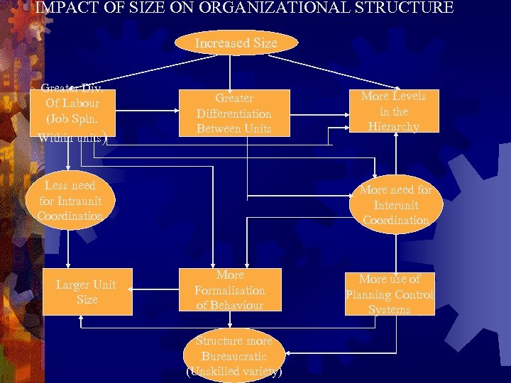IMPACT OF SIZE ON ORGANIZATIONAL STRUCTURE Increased Size Greater Div. Of Labour (Job Spln.