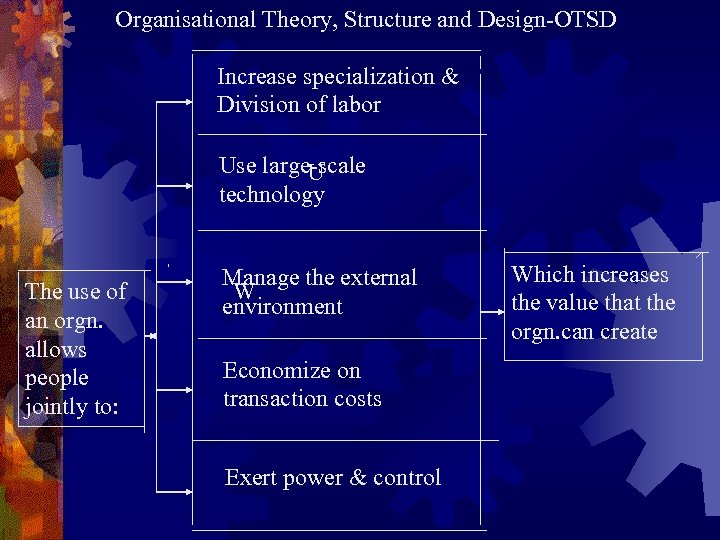 Organisational Theory, Structure and Design-OTSD Increase specialization & Division of labor Use large-scale U