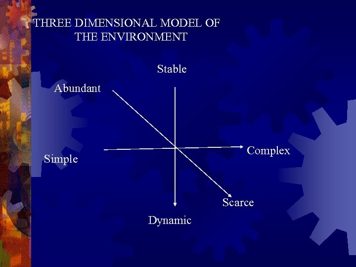 THREE DIMENSIONAL MODEL OF THE ENVIRONMENT Stable Abundant Complex Simple Scarce Dynamic