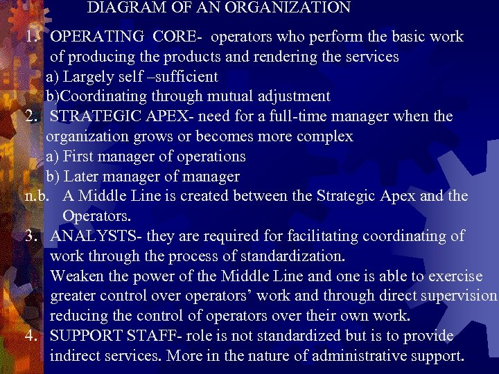 DIAGRAM OF AN ORGANIZATION 1. OPERATING CORE- operators who perform the basic work of