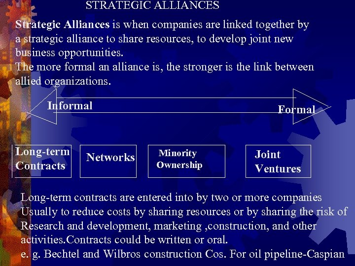STRATEGIC ALLIANCES Strategic Alliances is when companies are linked together by a strategic alliance