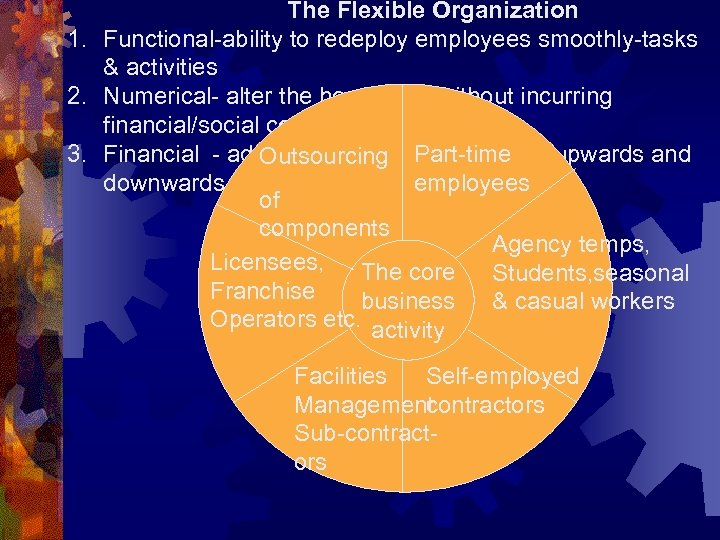 The Flexible Organization 1. Functional-ability to redeploy employees smoothly-tasks & activities 2. Numerical- alter