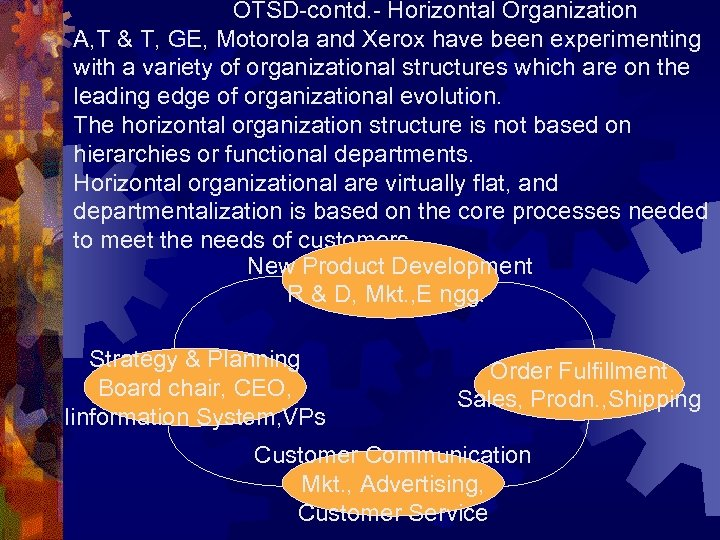 OTSD-contd. - Horizontal Organization A, T & T, GE, Motorola and Xerox have been