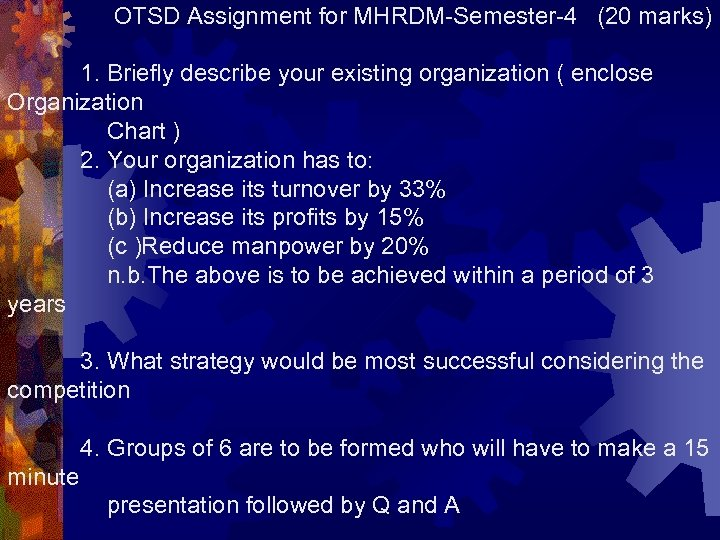 OTSD Assignment for MHRDM-Semester-4 (20 marks) 1. Briefly describe your existing organization ( enclose