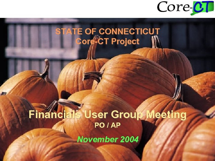 STATE OF CONNECTICUT Core-CT Project Financials User Group Meeting PO / AP November 2004