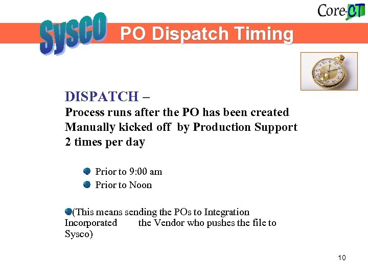 PO Dispatch Timing DISPATCH – Process runs after the PO has been created