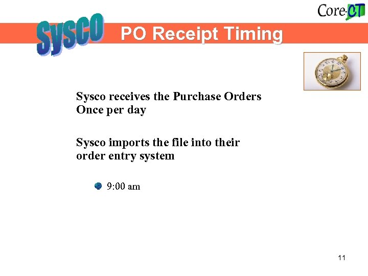 PO Receipt Timing Sysco receives the Purchase Orders Once per day Sysco imports