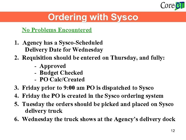 Ordering with Sysco No Problems Encountered 1. Agency has a Sysco-Scheduled Delivery Date for