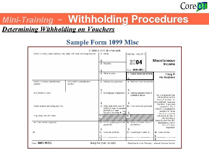 Mini-Training ~ Withholding Procedures Determining Withholding on Vouchers Sample Form 1099 Misc