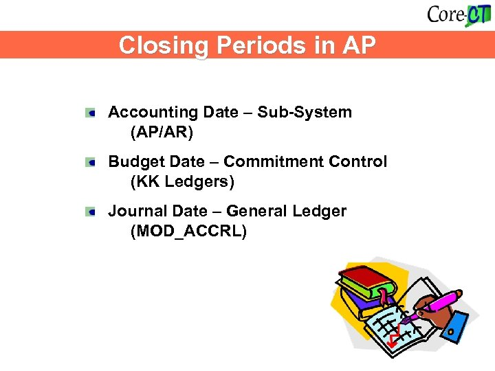 Closing Periods in AP Accounting Date – Sub-System (AP/AR) Budget Date – Commitment Control