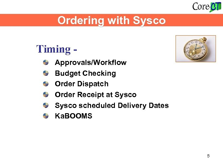 Ordering with Sysco Timing - Approvals/Workflow Budget Checking Order Dispatch Order Receipt at Sysco
