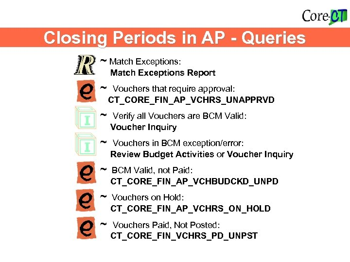 Closing Periods in AP - Queries ~ Match Exceptions: Match Exceptions Report ~ Vouchers