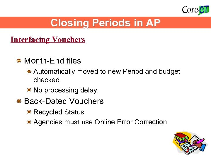 Closing Periods in AP Interfacing Vouchers Month-End files Automatically moved to new Period and