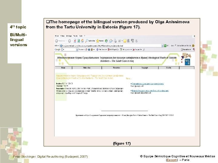 4 th topic q. The homepage of the bilingual version produced by Olga Anissimova