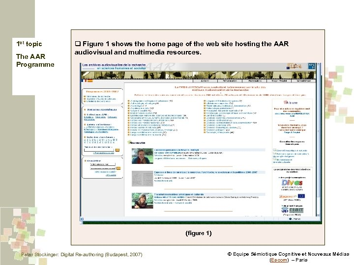 1 st topic The AAR Programme q Figure 1 shows the home page of