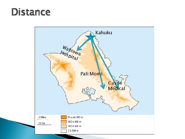 Distance Kahuku Wa h Ho iawa spi tal Pali Momi Castle Medical