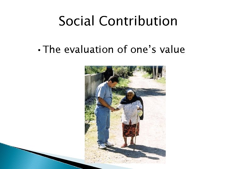 Social Contribution • The evaluation of one's value