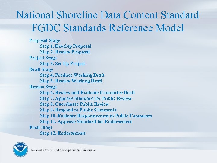 National Shoreline Data Content Standard FGDC Standards Reference Model Proposal Stage Step 1. Develop
