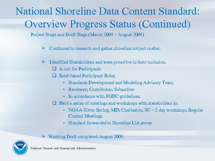 National Shoreline Data Content Standard: Overview Progress Status (Continued) Project Stage and Draft Stage