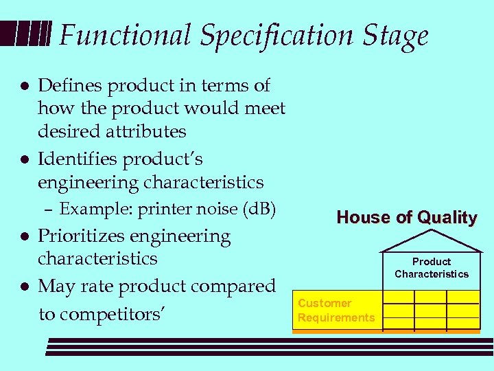 Functional Specification Stage l l Defines product in terms of how the product would