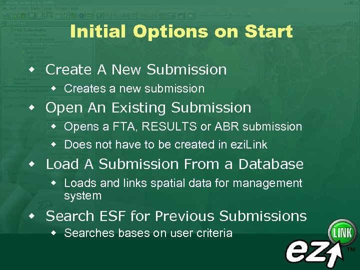 Initial Options on Start w Create A New Submission w Creates a new submission