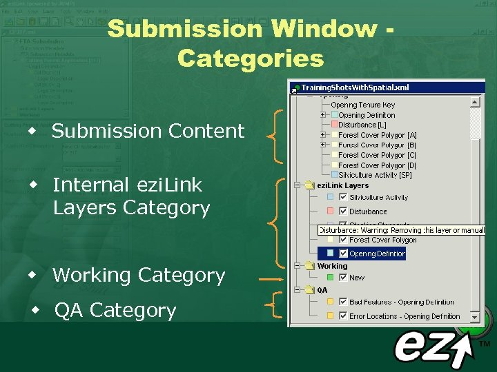 Submission Window Categories w Submission Content w Internal ezi. Link Layers Category w Working