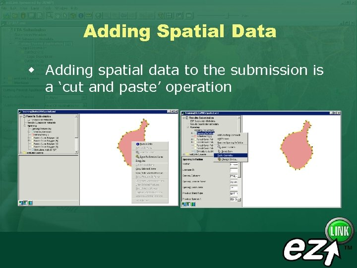 Adding Spatial Data w Adding spatial data to the submission is a 'cut and
